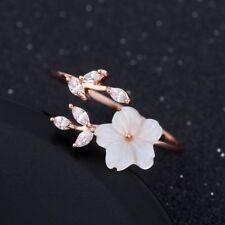 Adjustable Rose Gold White Zircon Shell Cherry Blossom Sakura Flowers Open Ring