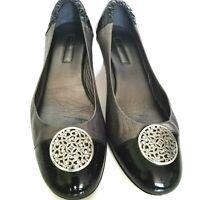 Women's BRIGHTON Ballet Pump Marci Pewter Black Leather Shoes Size 10M