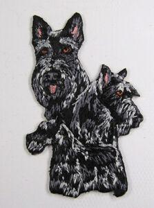 Scottie dog heat seal embroidered badge
