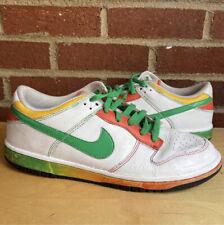 Nike Sb Dunk Low 6.0 White Rasta Green Orange Size 10.5 Sneakers 314142-131