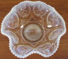 """10"""" Depression Milk Glass Ruffled Bowl Clear & Opaque Edges Candy Dish Compote"""