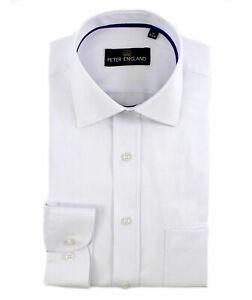 Peter England White Satin Herringbone Shirt