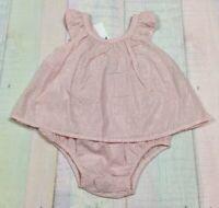 Baby Gap Girls 3-6 Months Lightweight Pink & Silver Romper Dress. Nwt