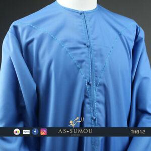 Emirati Khaleej Herren Thawb Jubba Omani Kandora Arabische Islamisches Eid Blau