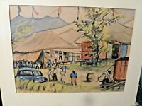 Vintage Original Gouache (c.1950) Traveling Circus by Mears