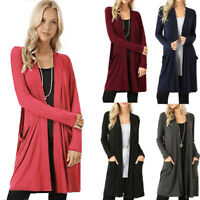 Women's Open Front Cardigan Sweater Long Sleeve Outwear With Pockets Loose Drape