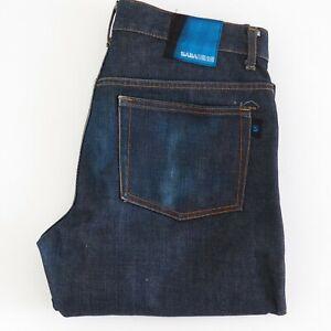 SABA Mens Dark Blue Jeans Mid Rise Straight Designer Colouring W33.5/L34.5 EUC