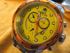 Men's Invicta Pro Diver 19648 Yellow Dial, Red Bezel, Blue Band Sanitized