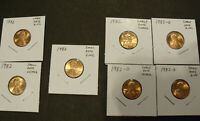 1982 LINCOLN MEMORIAL 7 PD COIN VARIETY SET - PENNY - CENTS - $2 SHIPPING!