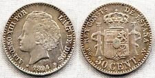 España-Alfonso XIII. 50 Centimos. 1894*9-4. Madrid. EBC-/XF-. Plata 2,5 g.