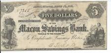 $5 1863 Macon Savings Bank Georgia Slave with cotton Gutter top lef #7355 CSA