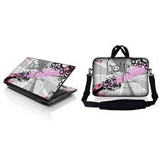 """17.3"""" Laptop Sleeve Bag w Shoulder Strap & Matching Skin Love Grey Skull 17Z-D69"""