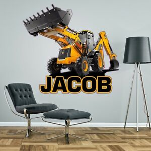 JCB DIGGER PERSONALISED WALL STICKER children's boy's bedroom decal art 2 sizes