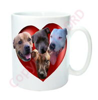 Staffy Gift, Mug with Hearts & Dogs. Staffies Staffordshire Bull, Mothers Day