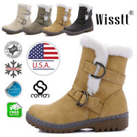 Womens Winter Warm Ankle Boots Ladies Fur Snow Buckle Flats Suede Shoes Size 9.5
