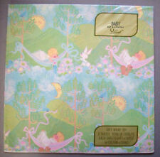 baby hammock bunny sun moon  Vintage 70s?  BABY SHOWER Gift Wrap Wrapping Paper