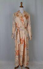 ROSCH Creative Culture Peach Floral Print Cotton & French Terry Bathrobe US10 ML