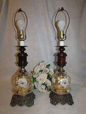 VTG PR HOLLYWOOD REGENCY AMBER GLASS HANDPAINTED FLOWER W WOOD TABLE LAMP 3 WAY