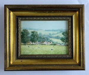 ROBERT HUGHES RMS Miniature Oil Painting A COTSWOLDS LANDSCAPE