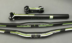 TOSEEK Carbon MTB Bike Handlebar Stems Seatpost Mountain Bike Flat Riser Bar Set