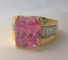 G-Filled Ladies 18ct yellow gold simulated diamond pink sapphire ring bling nice