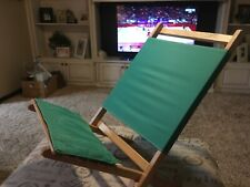 "Vintage Byer ""The Maine Lounger"" Beach Chair Green Wood Collapses USA Camping"