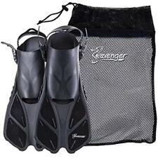 Snorkeling Diving Fins Swim With Bag (Black, L/XL (Size 9 To 13))