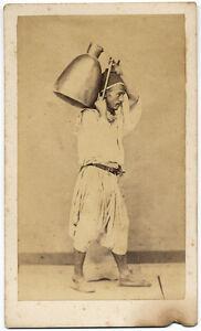 CDV Algiers Algeria Africa Costume Man with jug on the shoulder Geiser 1870 S819