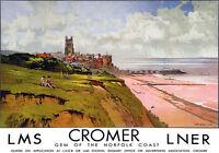 TU85 Vintage Cromer Norfolk LNER LMS Railway Travel Poster Re-Print A2 A3