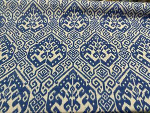 Blue Ikat Damask Tilia Canvas Upholstery Teflon finish Fabric by the yard