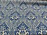 Blue Damask Tilia Canvas Upholstery Teflon finish Fabric by the yard