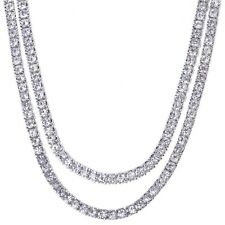 "Men's Iced Out 5 mm CZ 18"" / 20"" Double Set Silver Tone Tennis Chain Necklace"