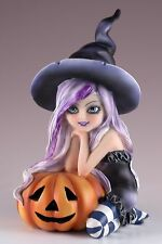 "Witch With Pumpkin Jack-O-Lantern Figurine Resin Halloween 6.5"" High New In Box!"