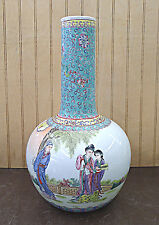 "Famille Rose Figure Design Artist Made Porcelain Vase 14""h x 8""w"