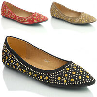 NEW WOMENS LADIES FLAT BALLERINA DOLLY BALLET PUMPS SHOES SIZE 3 4 5 6 7 8