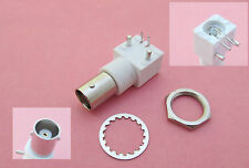 White PC Board PCB Mount Right Angle BNC Female Jack With Nut bulkhead Connector