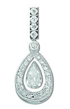 Cluster Pendant Pear Drop Necklace Solid Sterling Silver Rhodium Plated Pendant