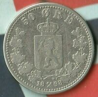 1898 Norway 50 Ore-- 60% Silver- Only 300,000 Minted- Nice Rare Silver Coin~