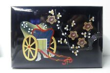 ANTIQUE JAPANESE LACQUER MUSICAL JEWELERY TRINKET BOX  HAND PAINTED FLOWER WAGON