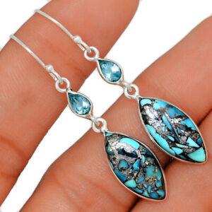 Hematite In Turquoise & Blue Topaz 925 Sterling Silver Earrings Jewelry BE51415