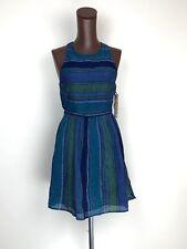 ROXY Womens Long View Skater Striped Sleeveless Dress Blue Astral Aura Sunset