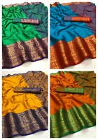 Ethnic Blouse Wear Silk Saree Indian Sari Designer Pakistani Party Wedding New
