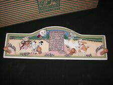 Mary Engelbreit Ceramic Cow Moon Peg Hook Wall Plaque Hanging Keys Coats Mugs