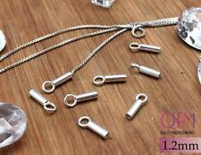 50 pcs Sterling Silver 925 Crimp End Cap, Chain / Cord Ends Caps, 1.2mm dia