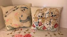2 Vintage Embroidered Throw Pillows 1920'S A+ Vintage Linens Textiles Free Ship