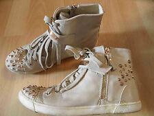 MODE QUEEN hohe Sneakers taupe mit Nieten Gr. 37 TOP ZC616