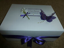 Wedding Keepsake Box Cadbury  Purple Engagement Diamante Memory Box 21st 30th