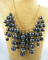 Dark Chunky Round Beads Fashion Necklace Earrings Costume Women Jewelry