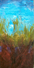 ORIGINAL SIGNED ART ABSTRACT OIL PAINTING UNDER THE BLUE