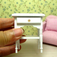 1:12 Dollhouse Miniature Furniture Bedroom White Wood Bedside Table Nightstand